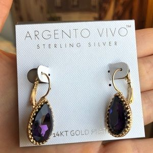 Pear-Shaped amethyst Gold-Plated Earrings